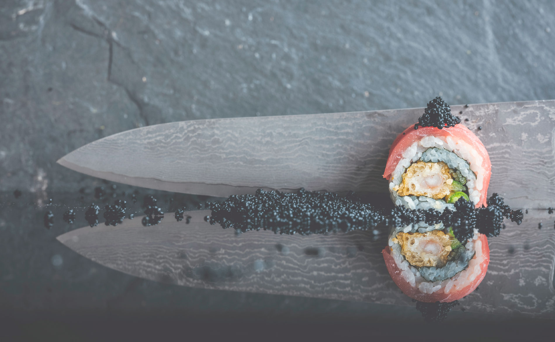Sushi with tosago - seaweed caviar