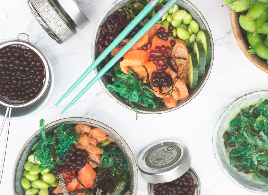 Caviart Food Art seaweed soya pearls poke bowls with our soya caviar