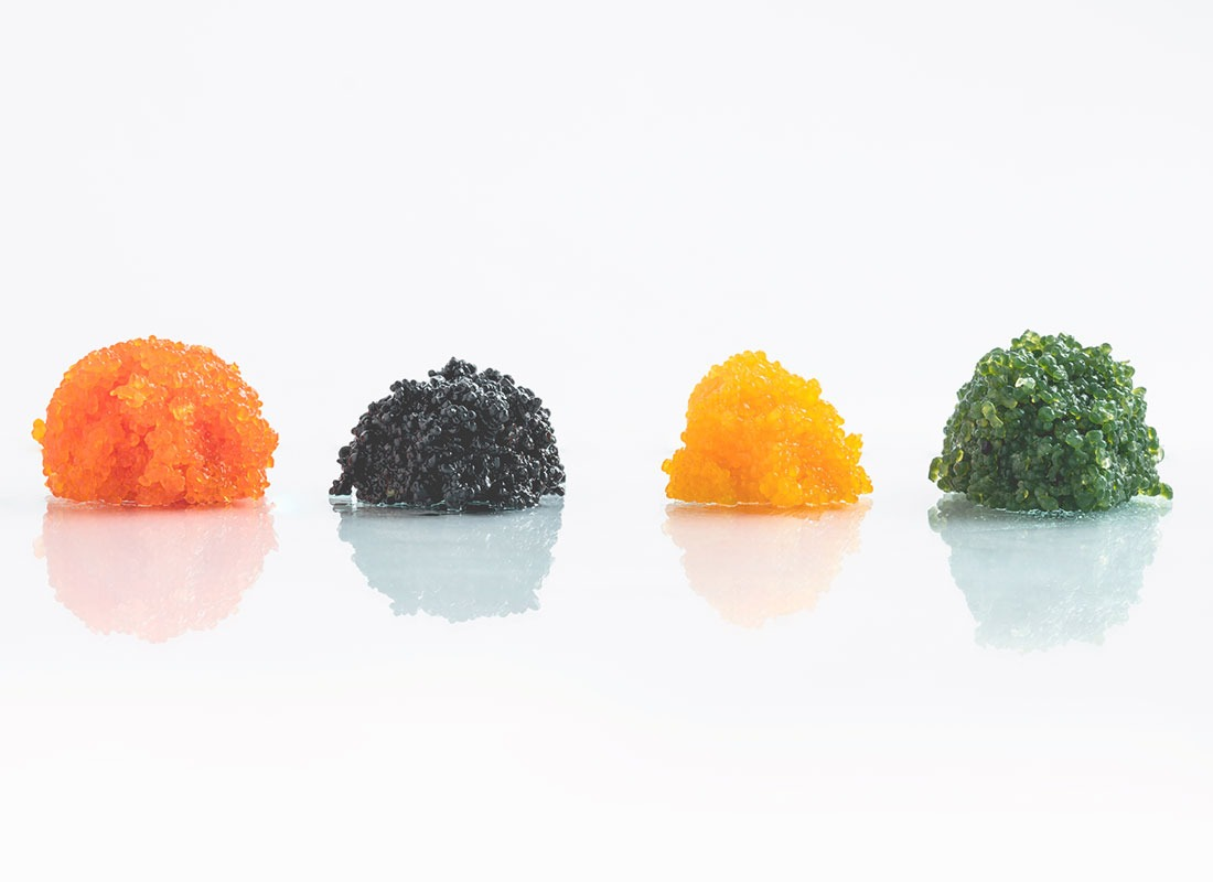 Seaweed caviar - kelp caviar - In different colors and flavors to make a lot of dishes