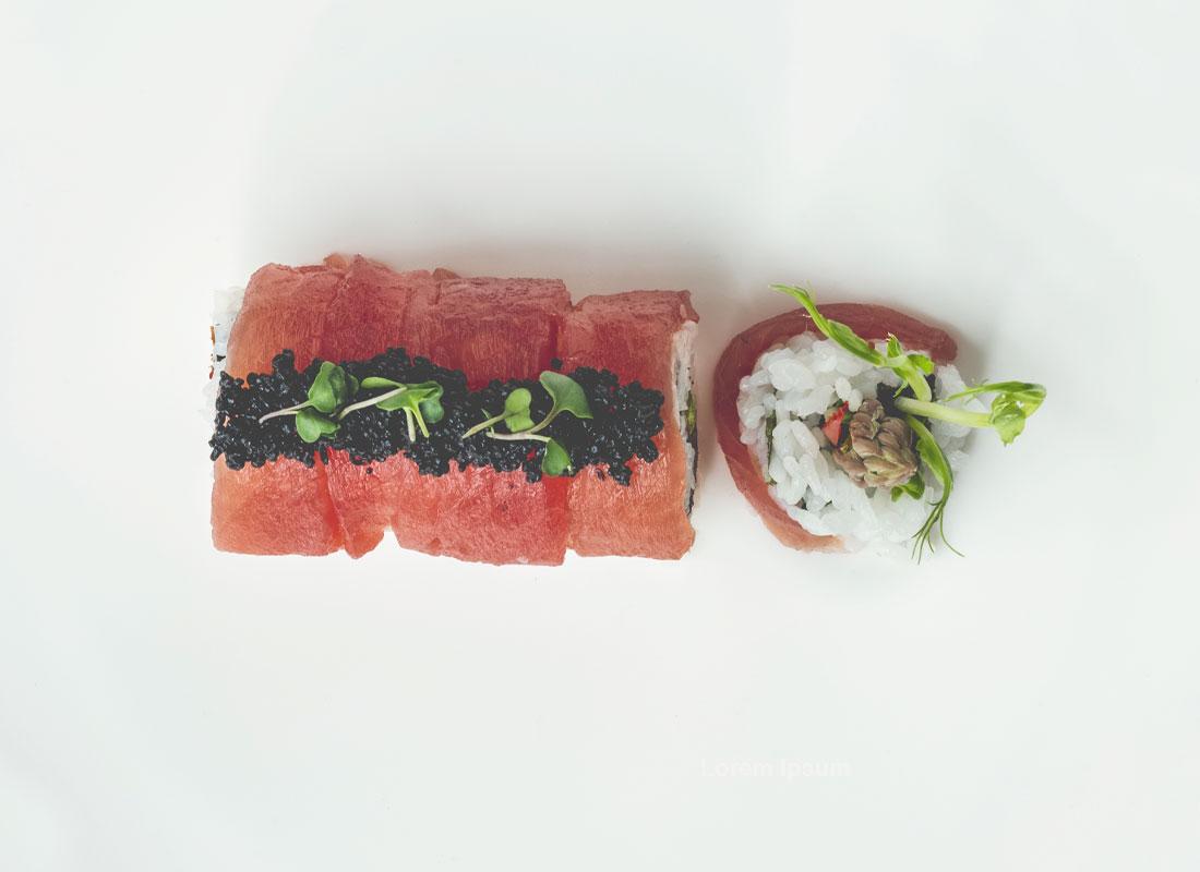 sushi toppet med kaviar - bæredygtige og veganske - perfekte som topping med naturlige farvestoffer